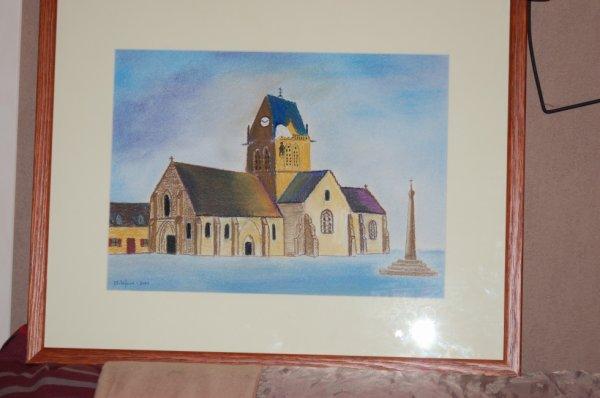église de Ste Mère Eglise au pastel   30*40  cadre 40*50