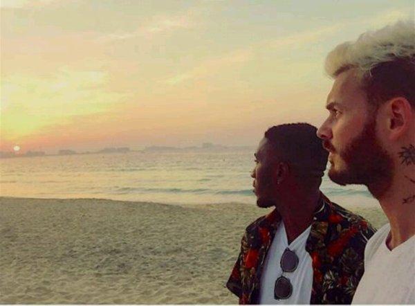 Matt et Armizy sur la plage a Dubai