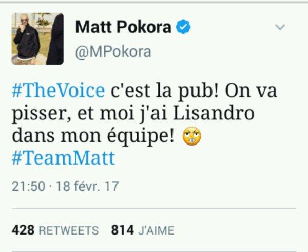 Tweet de Matt Samedi durant The Voice Samedi