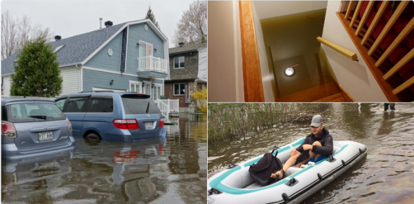 BIG ONE MONDIAL IMMINENT ET FIN DE VIE SUR TERRE ! ARRIVEE DE NIBIRU :Des Québécois naviguent en kayak dans leur ville à la suite d'importantes inondations