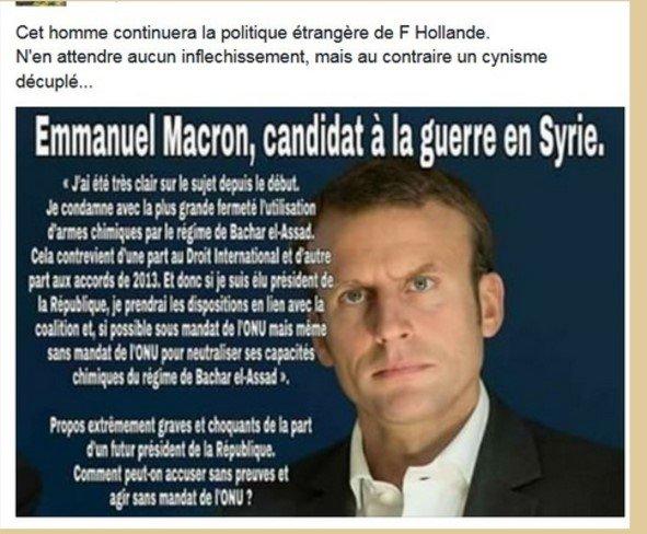 3 GUERRE MONDIAL 2017 EN MARCHE ET FIN DE LA FRANCE :Macron prépare la guerre contre la Syrie