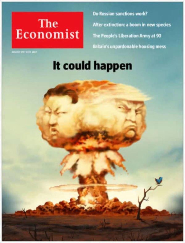 """3 GUERRE MONDIAL 2017 EN MARCHE :Couverture de la nouvelle édition """"The Economist"""""""