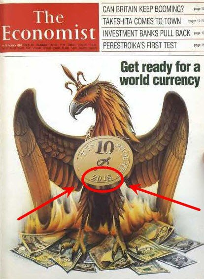 """Nouvelle monnaie : couverture mag the économist de 1988 """" Préparez-vous pour une monnaie mondiale"""""""