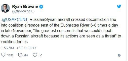 3 GUERRE MONDIAL 2017 EN MARCHE :Le Pentagone menace ouvertement d'abattre les avions russes dans l'est de la Syrie