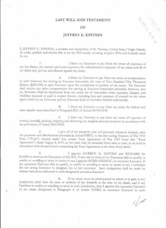 NOUVEL ORDRE MONDIAL PEDO SATANIQUE : Deux jours avant son suicide, Epstein a signé un testament en faveur d'inconnus
