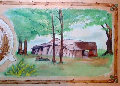 Tableau sur bois, Triskell féérique et dolmen breton .