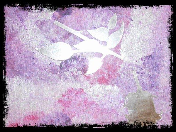 création autour d'une rose en miroir