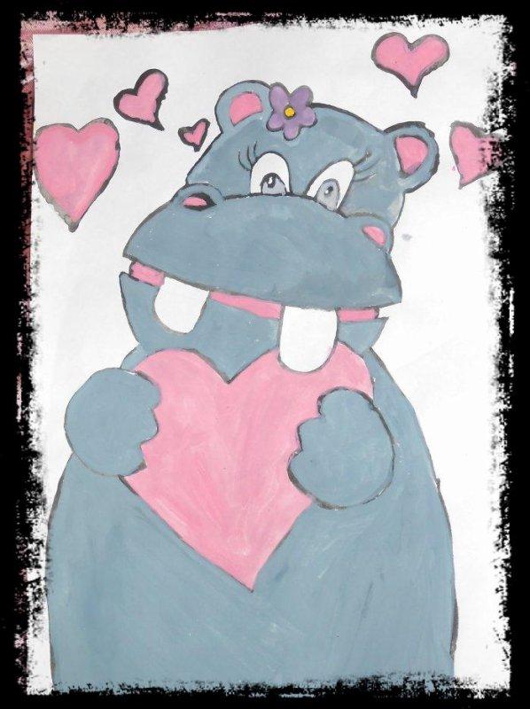 Hippo in Love (Peinture)