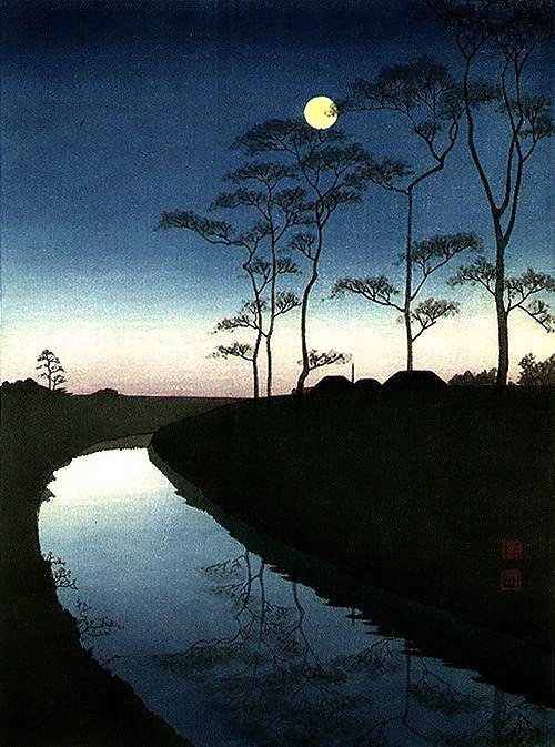 """Canal Under The Moonlight"" by  Koho Shoda"