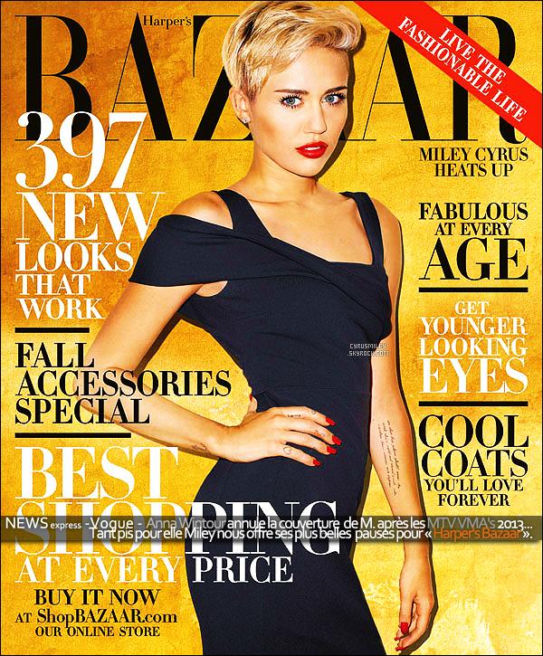 - Nouvelle couverture de Miley pour le magazine « Harper's Bazaar », oct. 2013. C'est une Miley C. totalement différente, de celle que l'on connait depuis plus maintenant plus d'un an, avec une robe noir tout en sobriété. -