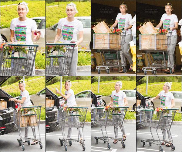 - 09/05/16 - L'adorable et souriante Miley Cyrus a été photographiée sortant d'un magasin consacré à la jardinerie.Niveau look Miley Cyrus à opté pour un petit look décontracté : tee-shirt, jogging et scandale parfait pour faire les courses Top ou Flop?-