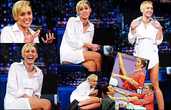 - 08/10/13 : Promo time - Miley C. était invitée au « Jimmy Fallon Show », elle y aura performé Wrecking Ball ! -