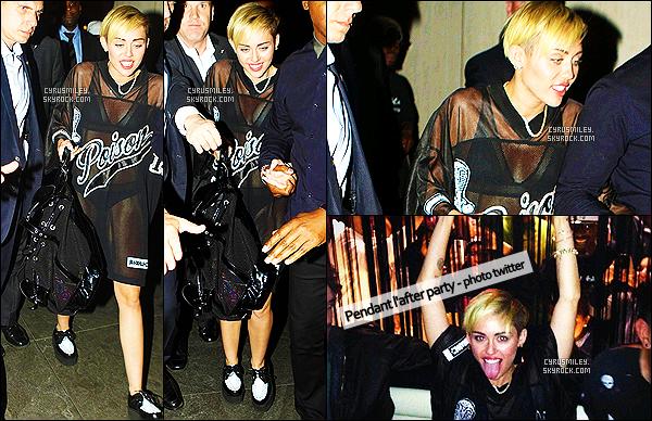- 05/10/13 : Après son passage remarqué au « Saturday Night Live » Miley se rendit à l'after party au STK, NY. Miley a donc bouclé le tournage du SNL en faisant la fête toute la nuit à New York avec la même tenue que celle utilisée sur scène - Top ou flop ? -
