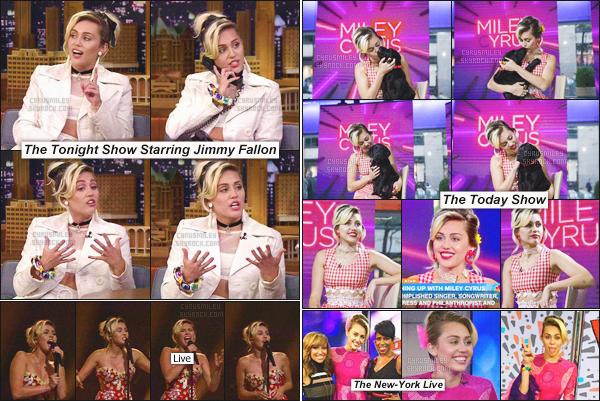 """- 16/09/16 - Journée promo pour Miley Cyrus qui s'est rendu à New-York pour y accorder de nombreuses interviews.Entre interviews chez """"Jimmy Fallon"""", live chez """"The Today Show"""", on peut dire que c'est une grande journée chargée pour la belle Miley Cyrus !-"""