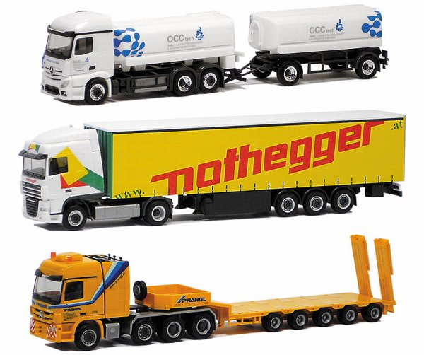Les nvts disponibles en magasins Les 6 premiers ensembles Herpa, ensuite Wiking qui se lance ds le containers, les 2 derniers Awm tous 1/87em