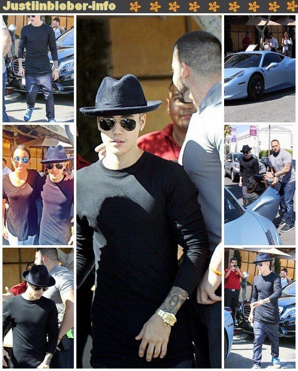 Justin au restaurant--Justin faisant du golf--Justin et des fans.