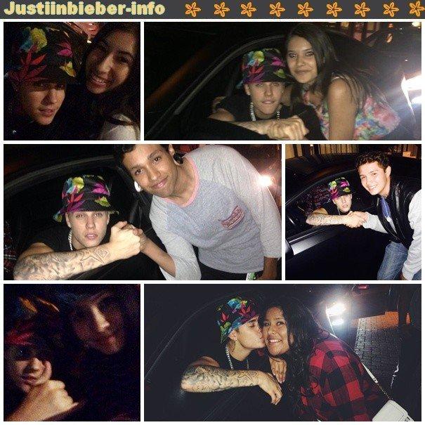 Justin et des fans à Los Angeles-- Justin dans un parc d'attraction