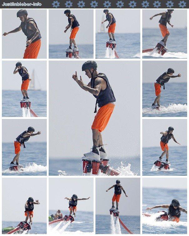 Justin faisant du flyboard à Ibiza.