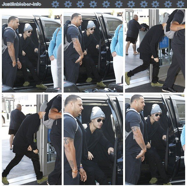 Justin arrivant à l'aéroport de LAX.