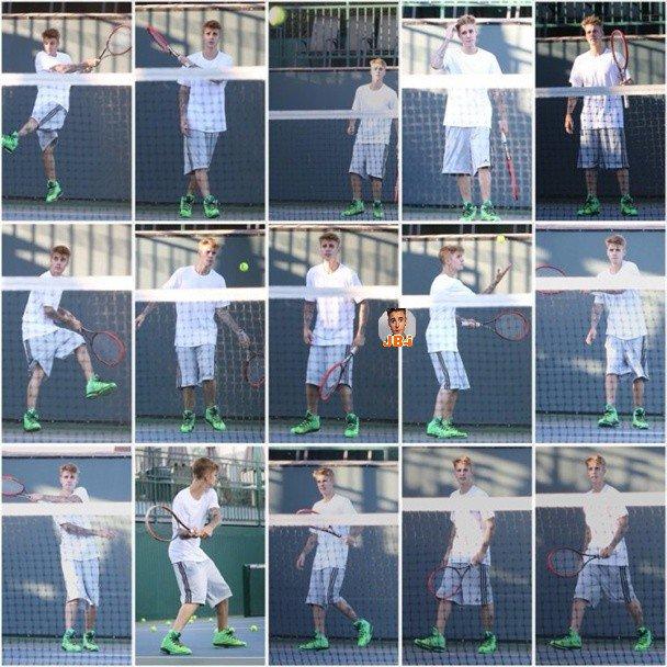 Justin jouant au tennis.