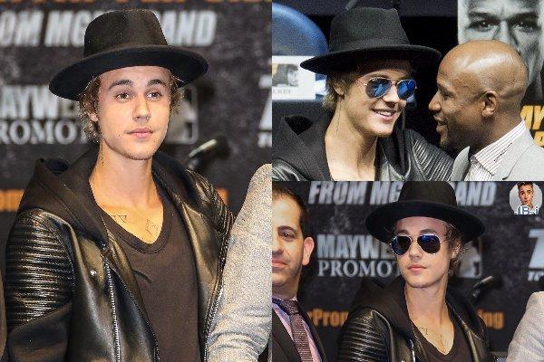 Justin à la conférence de presse de Floyd Mayweather.