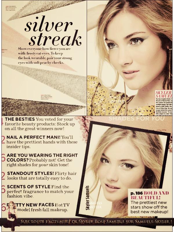 Découvrez des scans du magazine Seventeen de sept. 2011 dans lesquels Skyler apparaît ! Pour ma part, je trouve Skyler vraiment magnifique ! Et vous, qu'en pensez vous ?