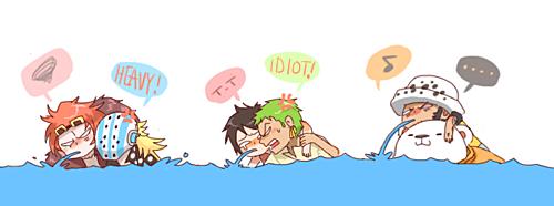 ils savent pas nagé mais il veulent faire la course et dans l'eau
