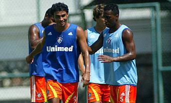 Alex Dias et Arouca à l'entraînement.