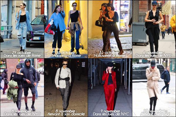.. Article récapitulatif▶ Découvrez les news de notre jeune mannequin du 29 octobre au 13 novembre 2017 ! Suis toutes les sorties de notre Bella Hadid du shopping à Rome jusqu'à New York City ! Bella nous a quand même servi en tops. Qu'en pensez vous ? .
