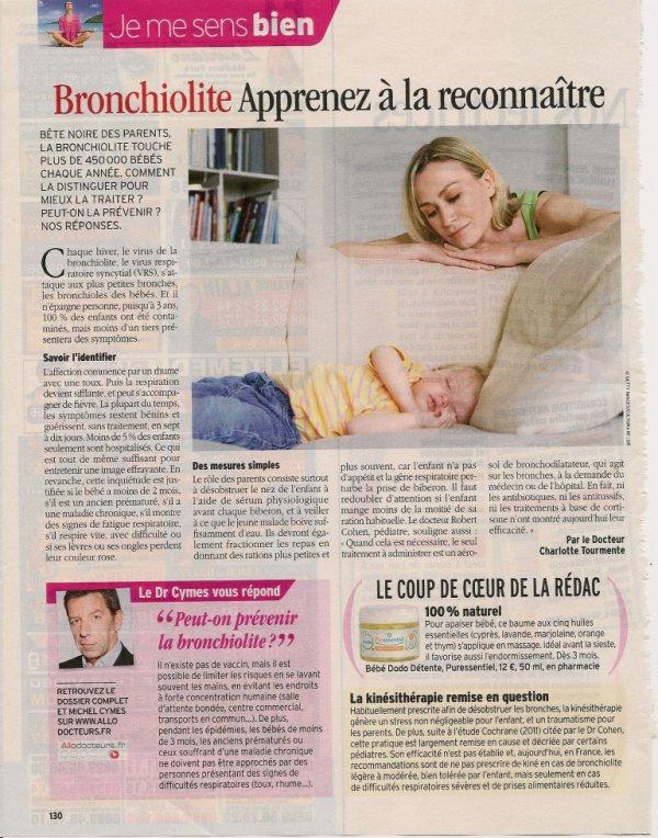 La bronchiolite (source Télé 7 jours du 10 au 16 novembre 2012)