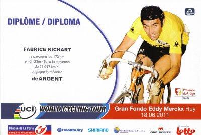 """Félicitation à 2 Amicalistes pour leur participation au """" Gran fondo Eddy Merckx ."""