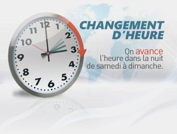 Attention Dimanche changement d'heure .