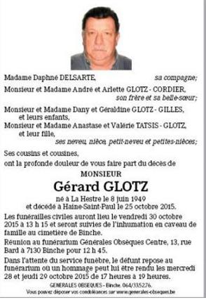 Décès de notre ami Gérard Glotz