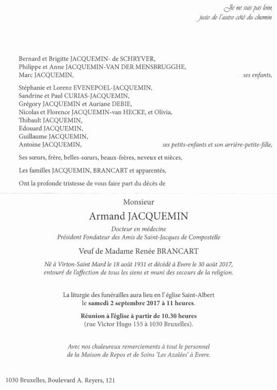Décès d' Armand Jacquemin