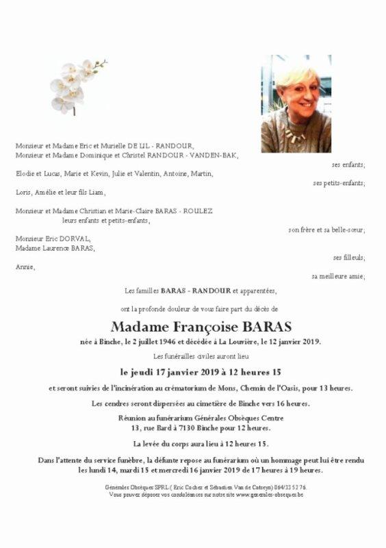 Décès de notre amie et membre sympathisante Françoise Baras
