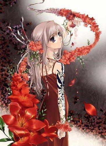 la fille aux fleurs rouges