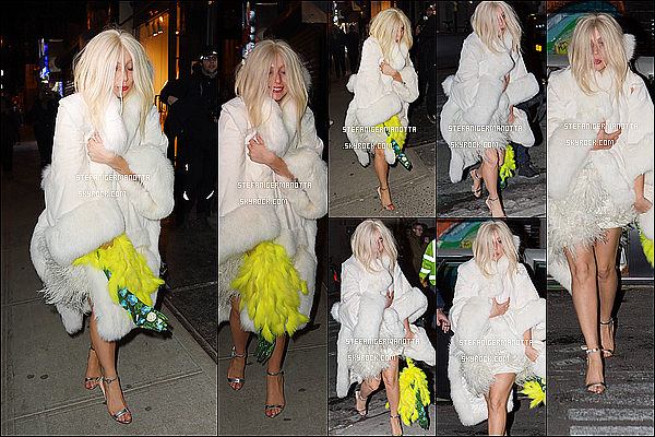 27/02/15 : De nuit, Lady Gaga a été photographiée sortant de son appartement dans New York.