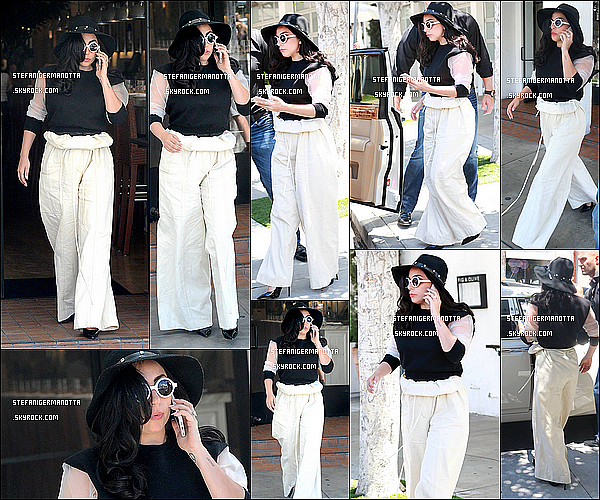 01/05/15 : Lady Gaga vue sortant du restaurant nommé Fig & Olive qui se situe à Los Angeles.