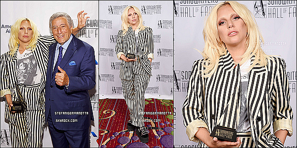 18/06/15 : Lady Gaga s'est rendue à la « Songwriters Hall of Fame » dans New York City.