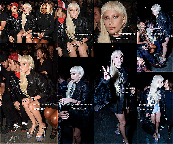 12/09/15 : Lady Gaga était au défilé de son ami Alexander Wang à la fashion week de New York.