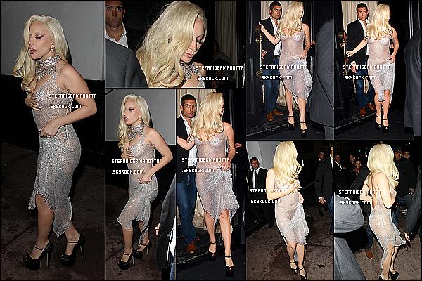 19/12/15 : Lady Gaga sortant du restaurant Beso où a eu lieu la fête de fin de tournage d'AHS, LA.