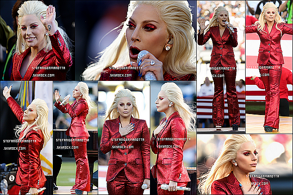 07/02/16 : Lady Gaga a chanté l'hymne national américain au Super Bowl au Levi's Stadium.