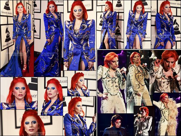 15/02/16 -Lady Gaga  était à la célèbre cérémonie annuelle des « Grammy Awards » - à Los Angeles.  Stefani n'a malheureusement pas gagné de 7e Grammy avec TIHTY,cependant elle a performé un hommage touchant à David Bowie.