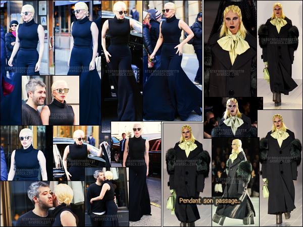 18/02/16 -Lady Gaga  a été vue dans la rue pour se rendre au défilé de Marc Jacobs - dans New-York. Ses sorties pour la Fashion Week continues mais cette fois c'était assez spéciale, Gaga a pris place au milieu des mannequins sur le défilé !