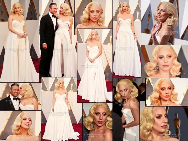 28/02/16 - Lady Gaga était présente à la grande cérémonie annuelle des « Oscars » - à Beverly Hills. Lady Gaga était en compétition cette année pour gagner un oscar mais elle a malheureusement perdu face à Sam Smith, bravo à lui.