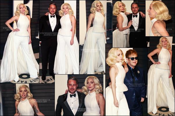 28/02/16 - Plus tard, Lady Gaga s'est rendue à l'After Party des « Vanity Fair » - dans Beverly Hills. Pour finir cette soirée riche en émotions, Gaga s'est rendue à la plus célèbre after-party des oscars. Côté tenue c'est un peu la même.