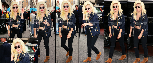 04/05/16 - Lady Gaga a été vue arrivant à Macy's pour le lancement de sa marque Love Bravery - à NY. Cette ligne a été créée avec la fondation de Gaga et celle de Elton John qui n'était d'ailleurs pas présent, c'est son mari qui était là. un top.