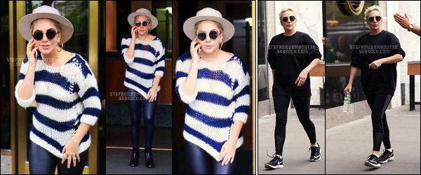 10/05/16 - Lady Gaga a été vue sortant de chez elle puis en tenue de sport dans les rues de New York. Dans la soirée, la Lady a été vue quittant le Joanne Trattoria avec Mark Ronson. En ce moment Gaga abandonne ses talons gigantesques.