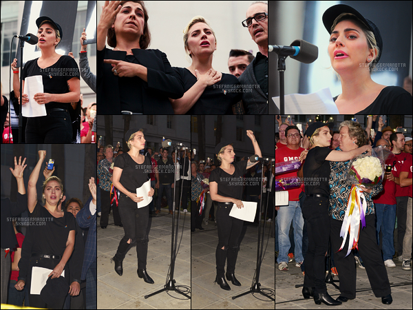 13/06/16 - Lady Gaga, très émue, a tenu un discours envers la fusillade d'Orlando - à Los Angeles, CA.  La fusillade d'Orlando contre une boite de nuit homosexuel constitue la fusillade la plus mortelle des EU à ce jour avec un total de 49 morts