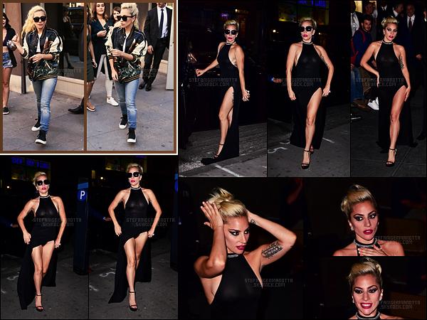 15/09/16 - Pendant la journée, Lady Gaga a été vue quittant un studio d'enregistrement dans New York.  Le soir même, la chanteuse a été photographiée sortant du Radio City Music Hall à N-Y dans une jolie robe noire.Qu'en pensez-vous ?